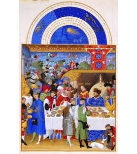 """Carte postale """"Les très riches Heures du duc de Berry"""" Janvier"""