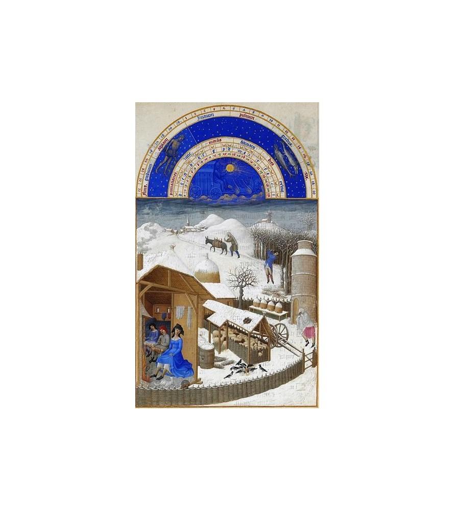 """Carte postale """"Les très riches Heures du duc de Berry"""" Février"""