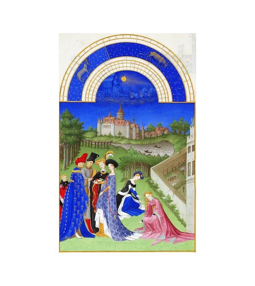 """Carte postale """"Les très riches Heures du duc de Berry"""" Avril"""
