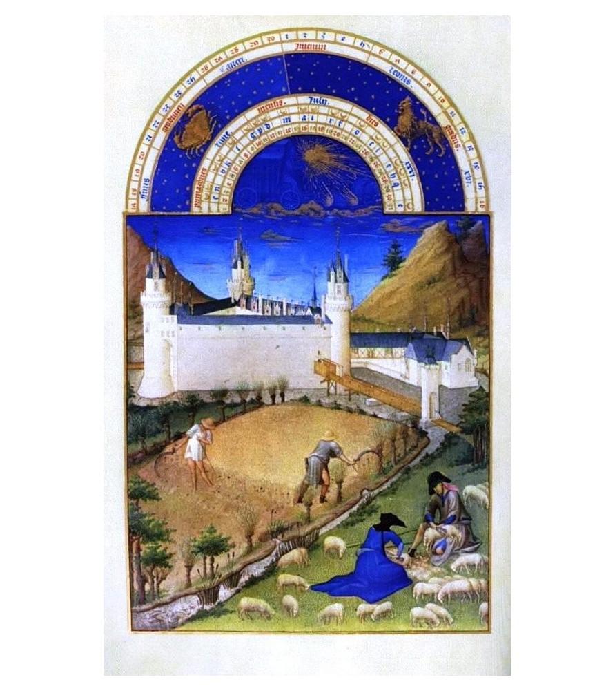 """Carte postale """"Les très riches Heures du duc de Berry"""" Juillet"""