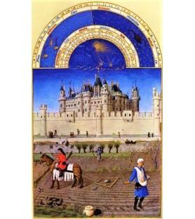 """Carte postale """"Les très riches Heures du duc de Berry"""" Octobre"""