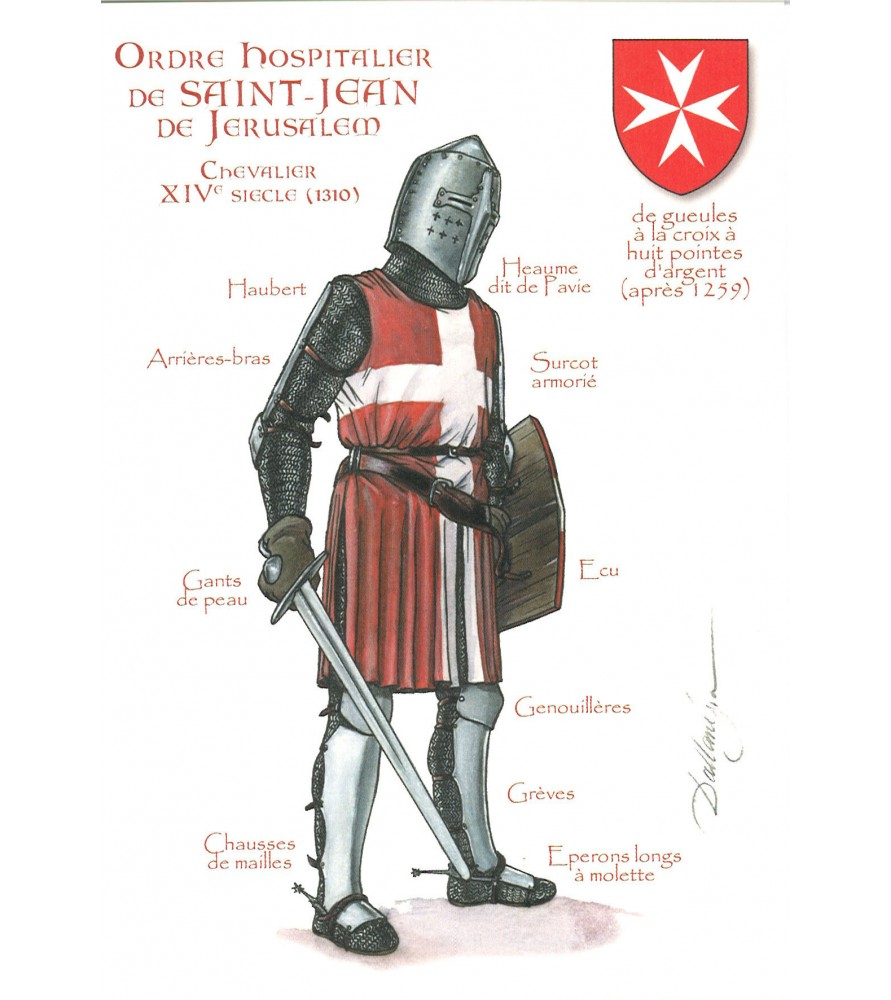 Carte postale Ordre Hospitalier de Saint Jean de Jérusalem, Chevalier du XIVème siècle