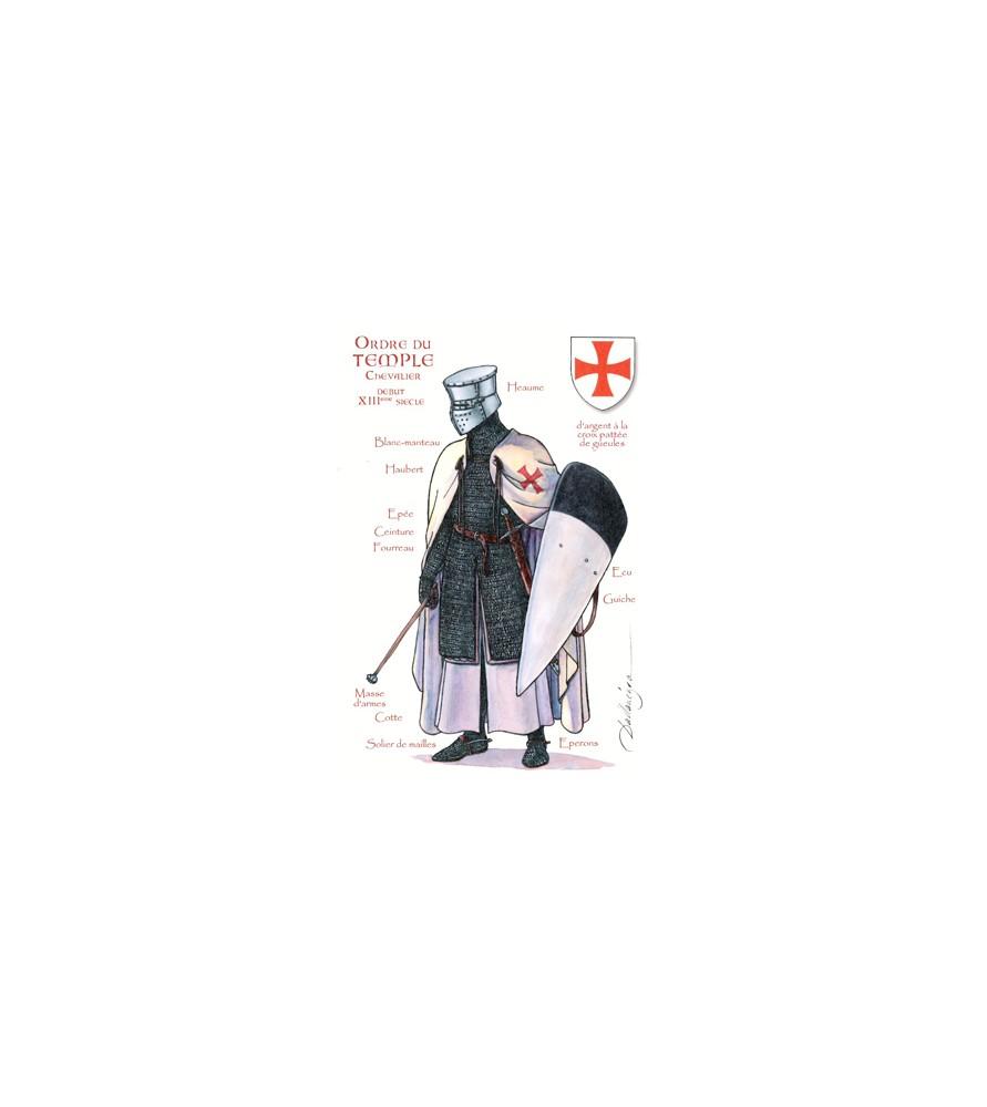 Carte postale Ordre du Temple, Chevalier début XIIIème siècle