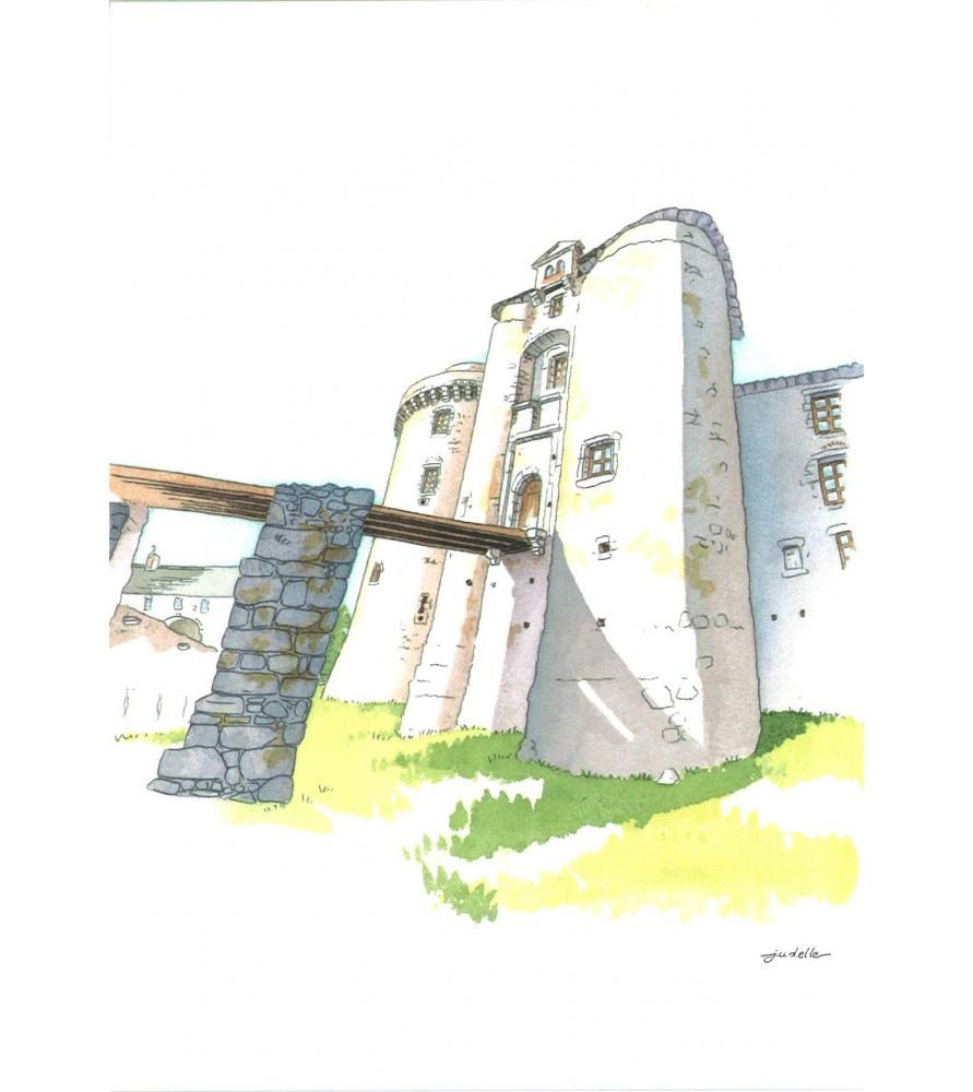 Carte postale aquarelle Châtelet Château Saint Mesmin
