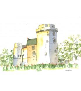 Carte postale aquarelle Château Saint Mesmin