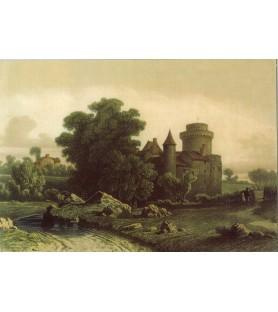 Carte postale Lithographie Château Saint Mesmin