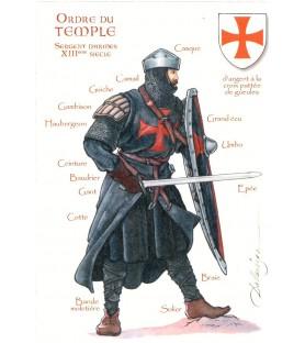 Carte postale Ordre du Temple, Sergent d'armes, XIIIème siècle