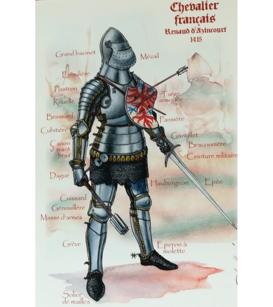 Carte postale Chevalier français Renaud d'Azincourt, 1415