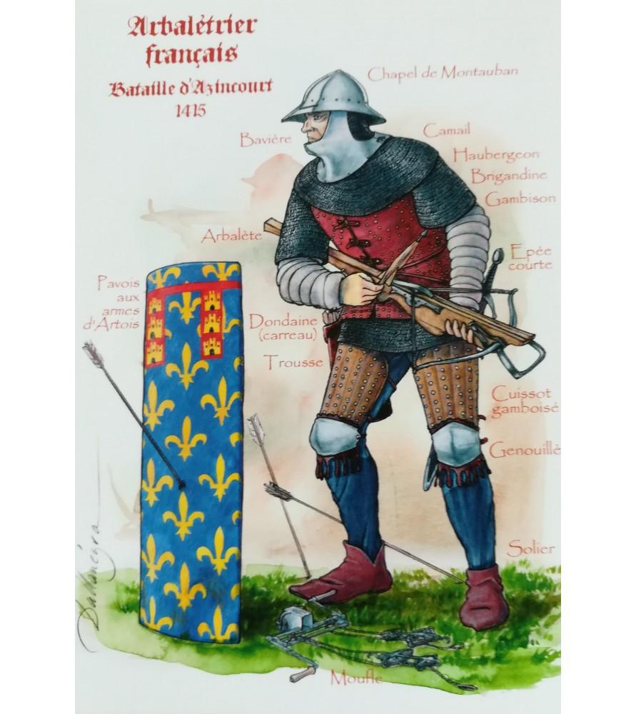 Carte postale arbalétrier français, 1415
