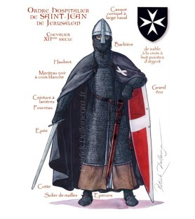 Carte postale Ordre Hospitalier Saint Jean, XIIème siècle