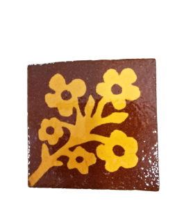 Carreau médiéval de Provins, décor floral