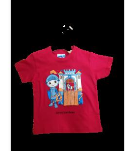 T-shirt rouge chevalier au pont-levis