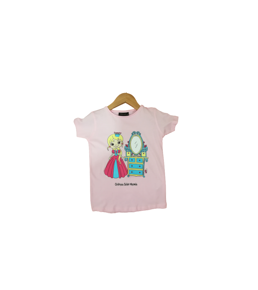 T-Shirt rose princesse au miroir