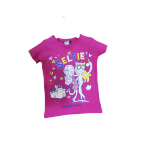 T-shirt enfant rose selfie