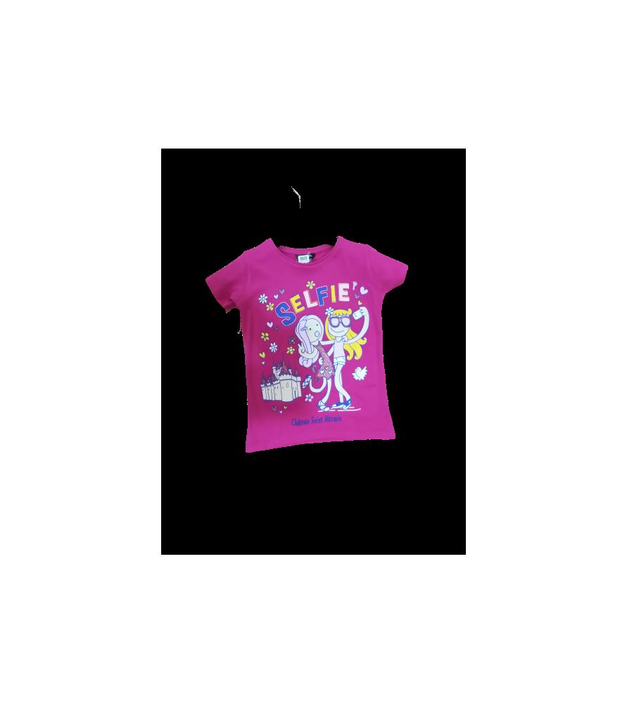 T-shirt enfant rose selfie