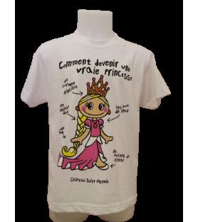 T-shirt enfant blanc comment devenir une vraie princesse