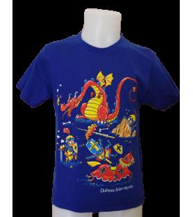 T-shirt bleu enfant avec dragon