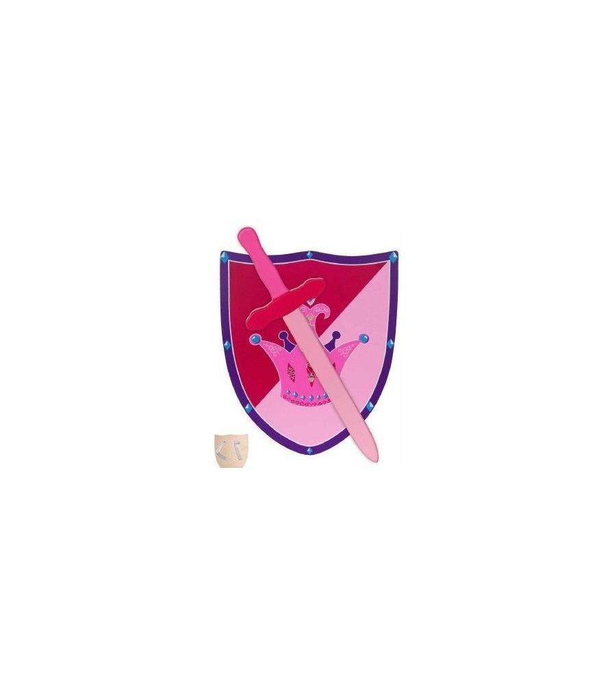 Bouclier médiéval en bois avec épée rose