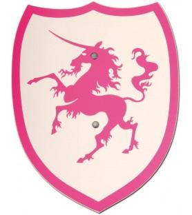 Bouclier médiéval licorne rose