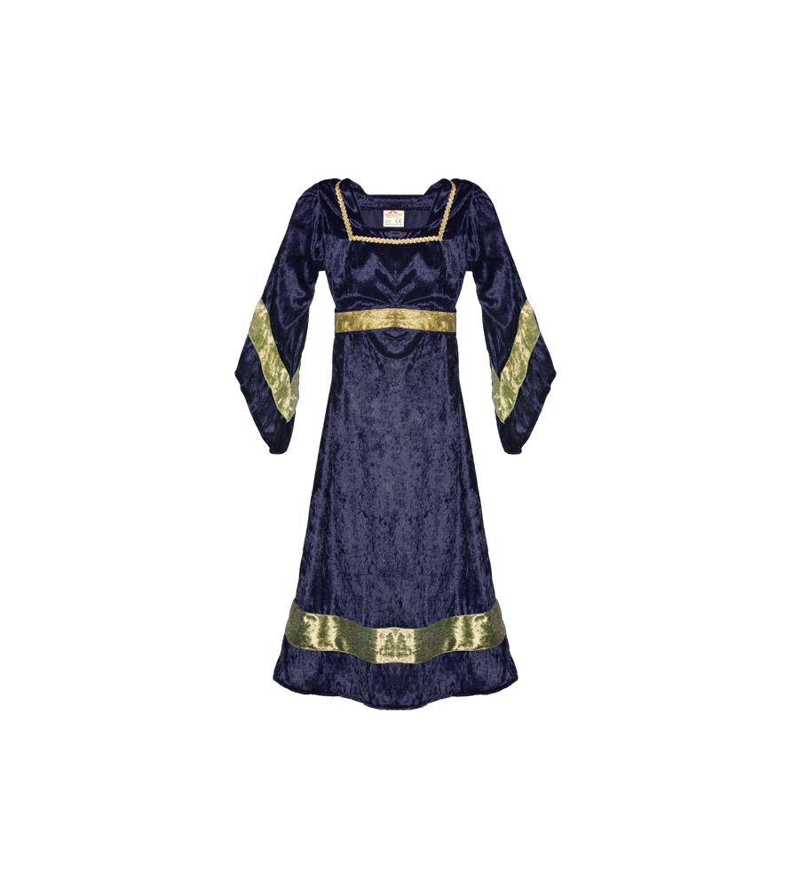 Robe médiévale de petite chatelaine bleu
