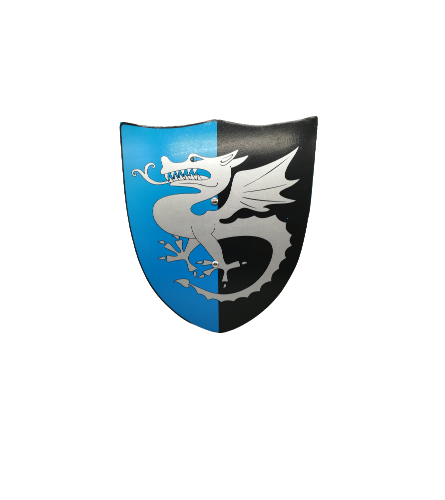 Bouclier médiéval en bois dragon gris