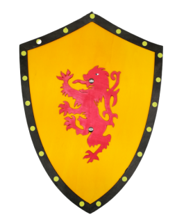 Bouclier médiéval jaune en bois