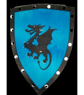 Bouclier médiéval bleu en bois