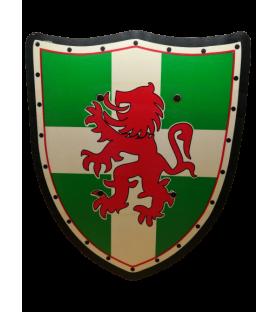 Bouclier médiéval rouge et vert