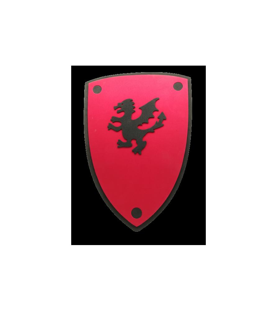 Bouclier médiéval rouge au lion noir