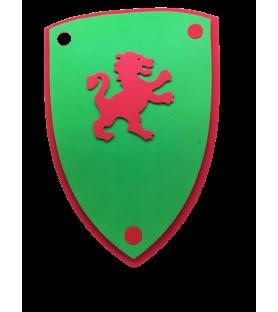 Bouclier médiéval vert au lion rouge