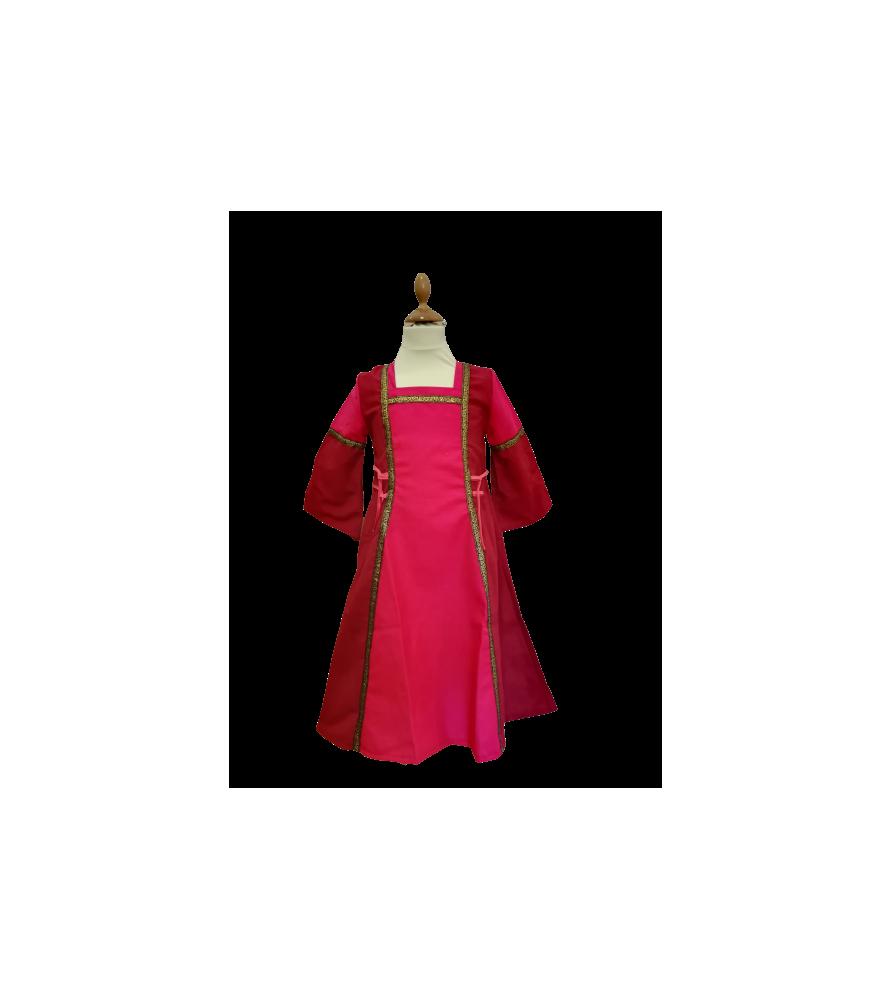 Robe médiévale rose de princesse