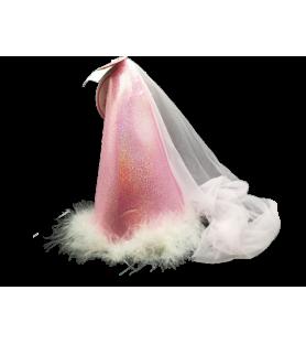 Chapeau médiéval pailleté rose