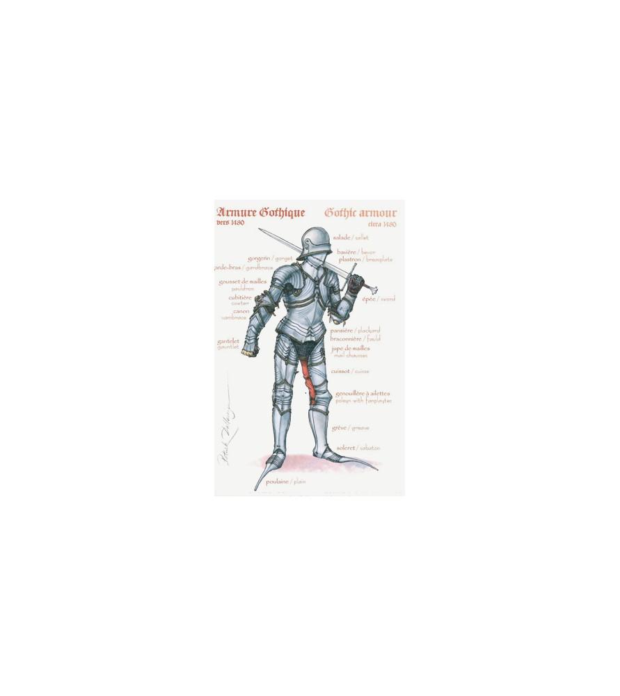 Carte postale Chevalier armure gothique vers 1480