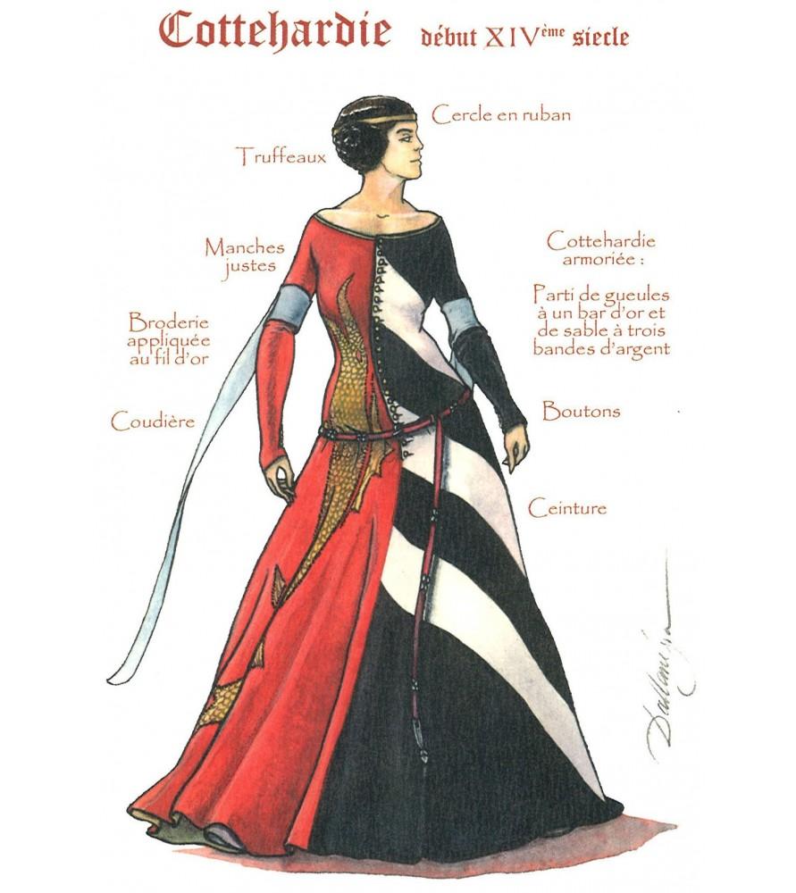 Carte postale Femme à la Cotte-hardie début XIVe siècle