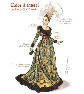Carte postale Femme à Robe à tassel, milieu XVe siècle