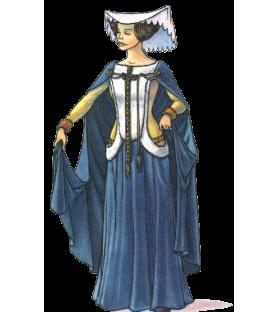 Carte postale femme au surcot ouvert fin XIVe siècle