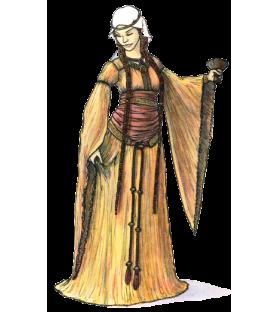 Carte postale femme au bliaud, XIIe siècle