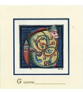 Carte postale Art Roman lettre G
