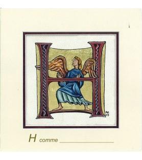 Carte postale Art Roman lettre H
