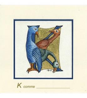 Carte postale Art Roman lettre K