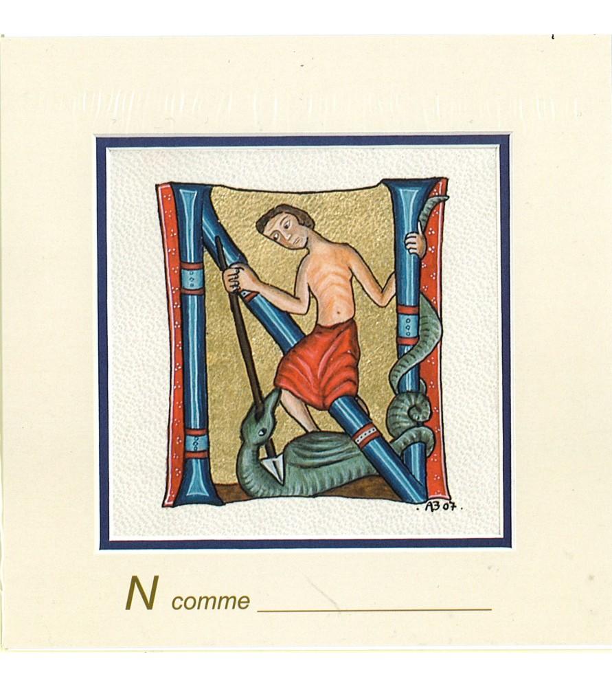 Carte postale Art Roman lettre N