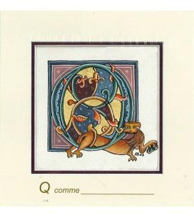 Carte postale Art Roman lettre Q