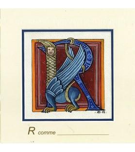 Carte postale Art Roman lettre R