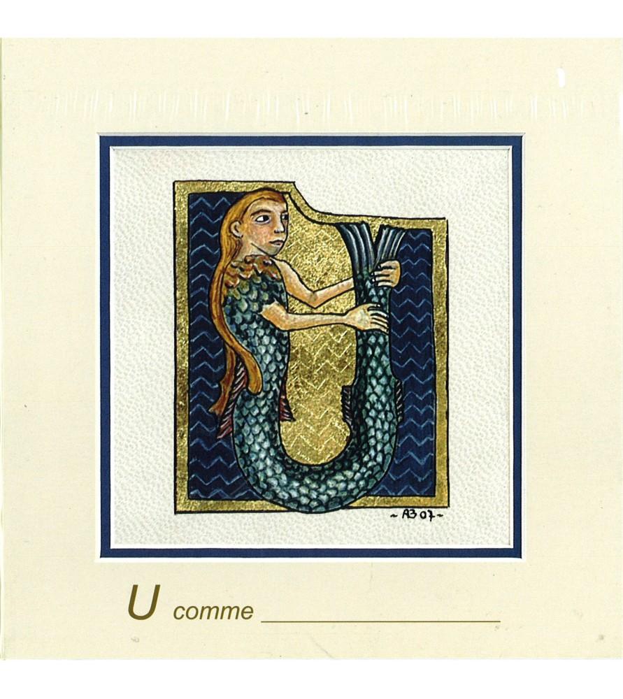 Carte postale Art Roman lettre U