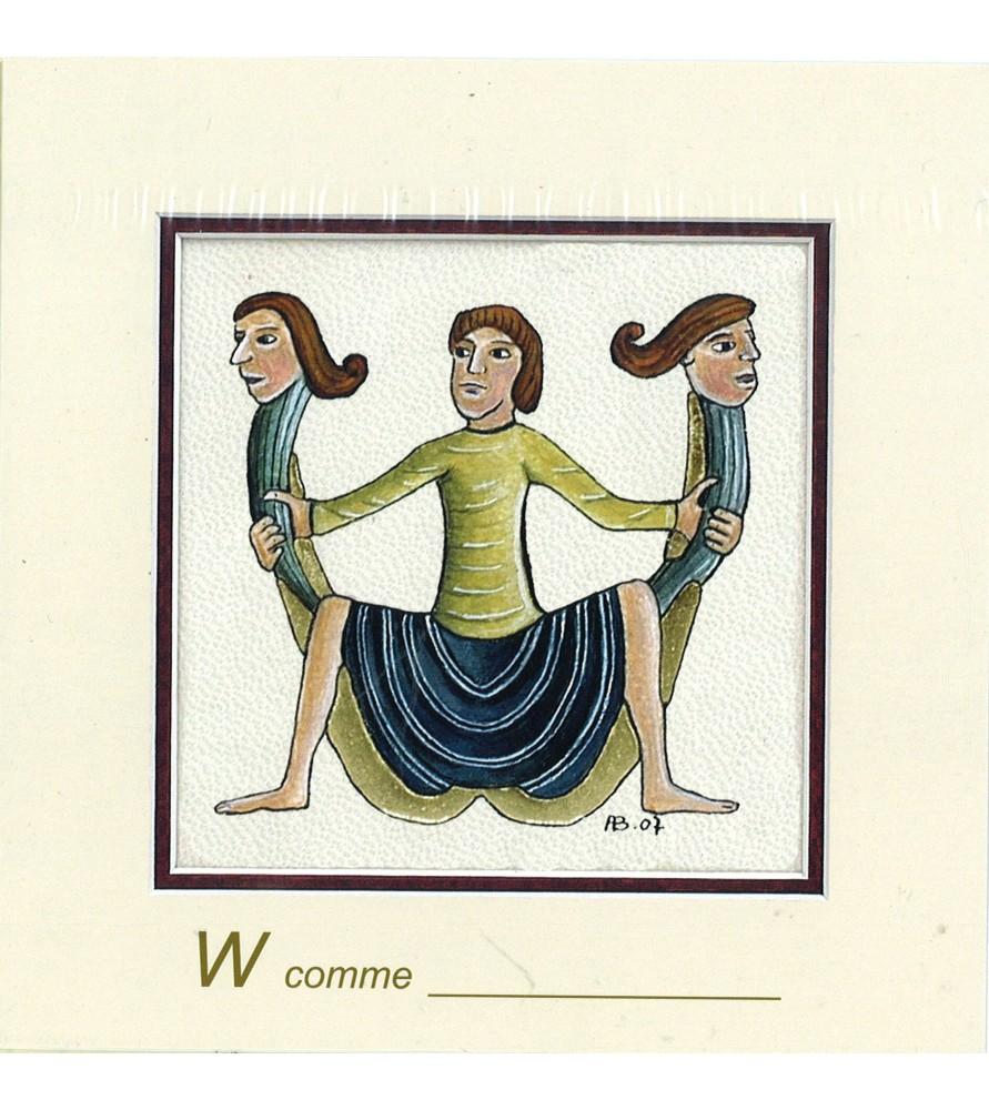 Carte postale Art Roman lettre W