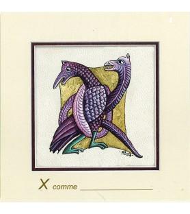 Carte postale Art Roman lettre X