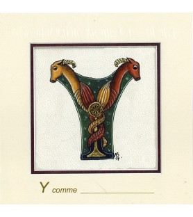 Carte postale Art Roman lettre Y