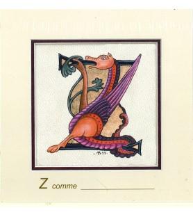 Carte postale Art Roman lettre Z