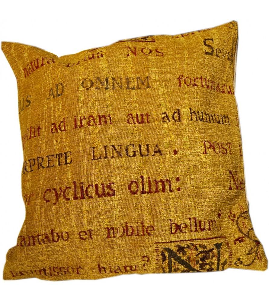 Housse de coussin manuscrit Latino Ocre